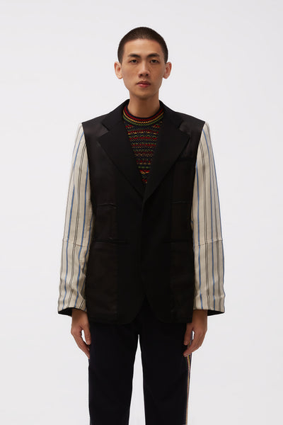 Wales Bonner - Sterling Patchwork Tailored Jacket Black/ Ivory