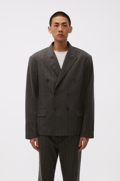 Second / Layer - Pico Blazer Charcoal/Yellow Stripe