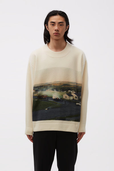 NAMACHEKO - Gladys Sweater Faded Print White