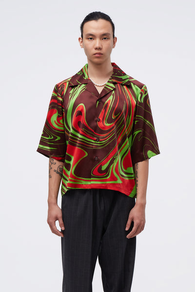 Conscious Creatures - Vacay Cropped Loose Shirt Looney Tunes Swirl Pattern