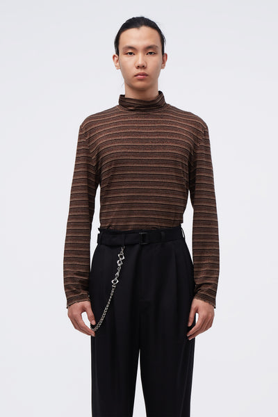Our Legacy - Artist Turtleneck Trashed Stripe Brown