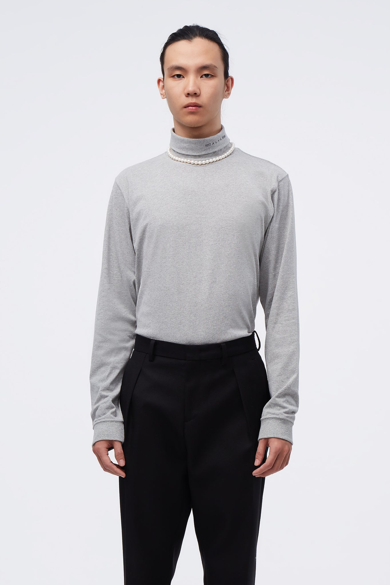 L/s Roll Neck Tee Visual Grey