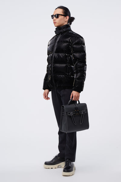 Puffer Coat W Nylon Buckle Black