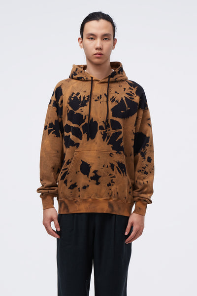 CMMN SWDN - Shawn Boxy Fit Hooded Sweatshirt W/ Print Brown Tie Dye
