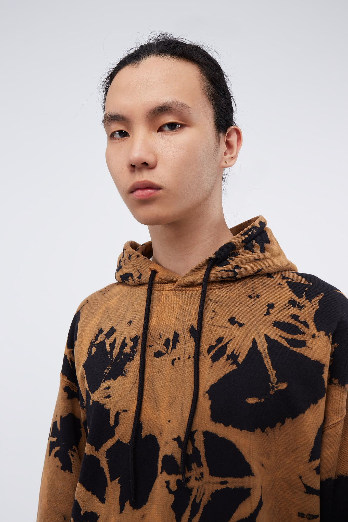Shawn Boxy Fit Hooded Sweatshirt W/ Print Brown Tie Dye
