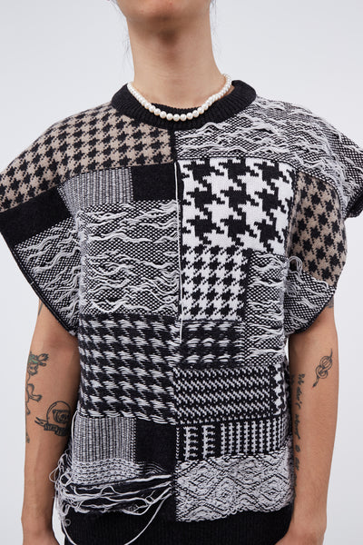 Leon Round Neck Patchwork Vest Black/ White