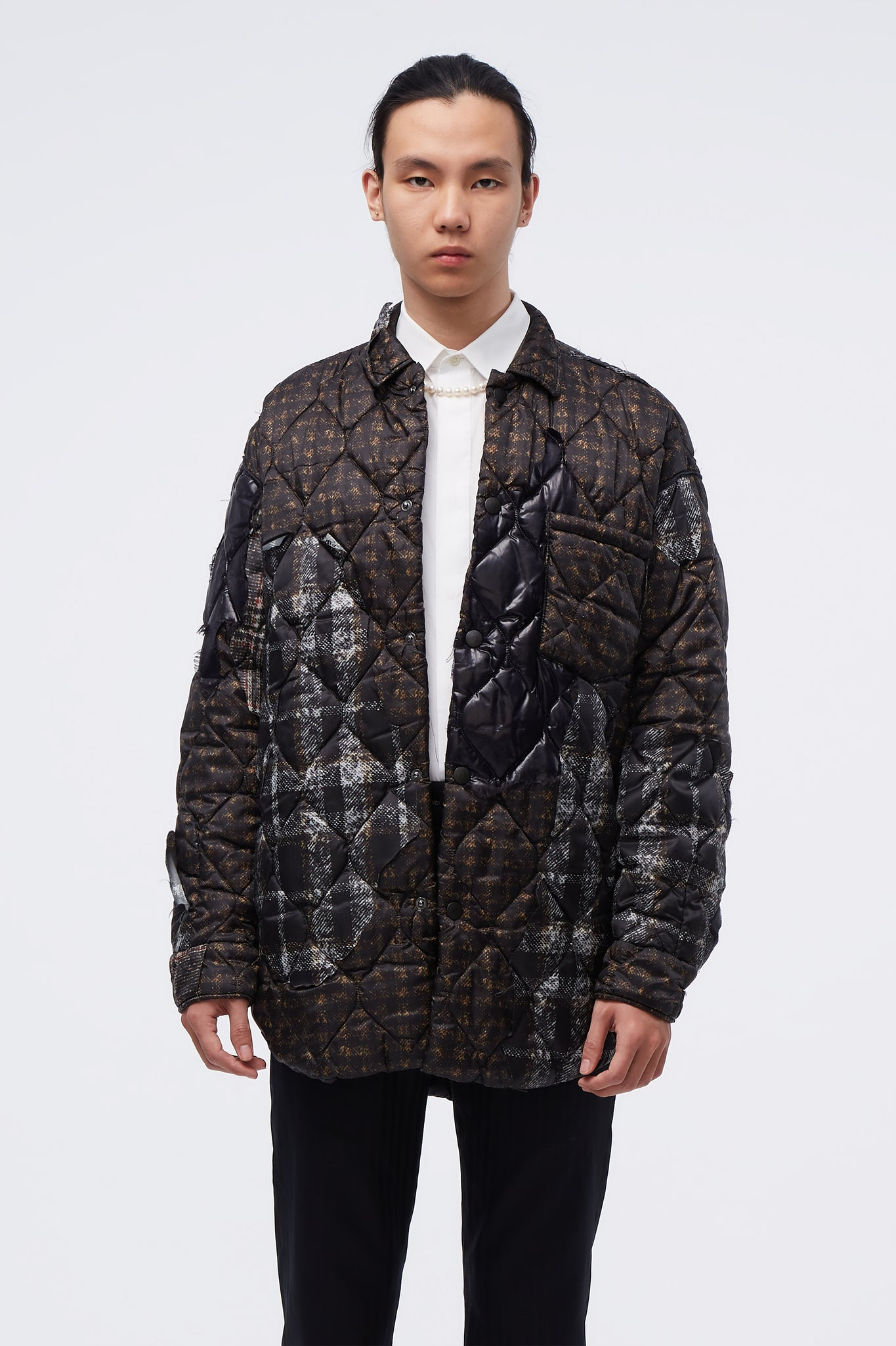 Quilted Puffer Jacket Brown