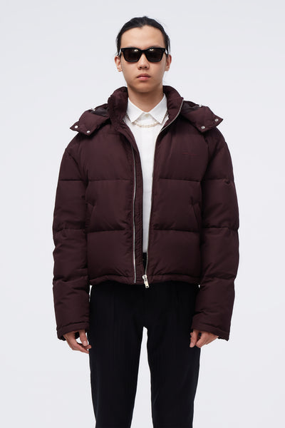 Second / Layer - Down Puffy Cropped Coat Bordeaux