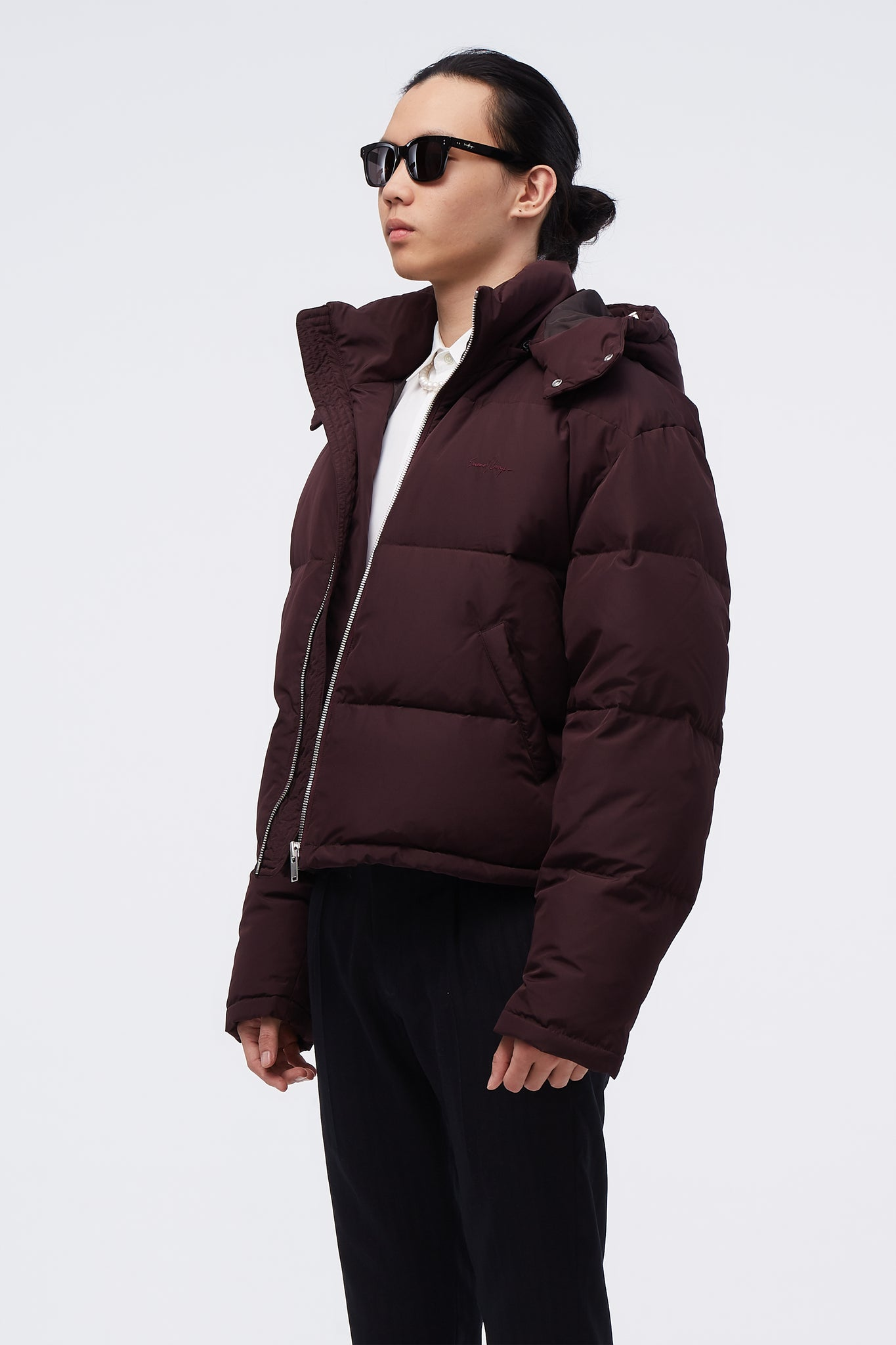 Down Puffy Cropped Coat Bordeaux
