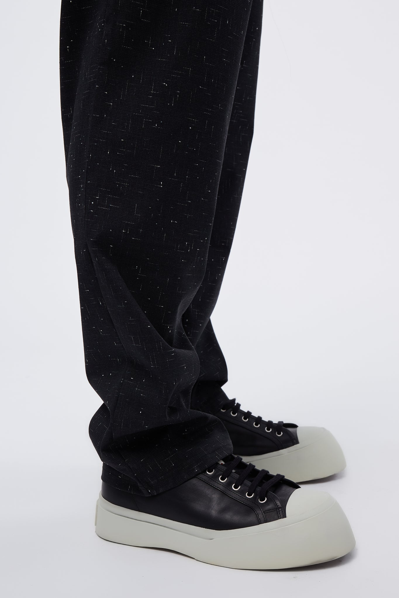 Black/Speckle Elastic Waist Trousers
