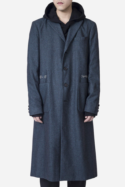 Komakino - Embroidered Tailored Coat Navy