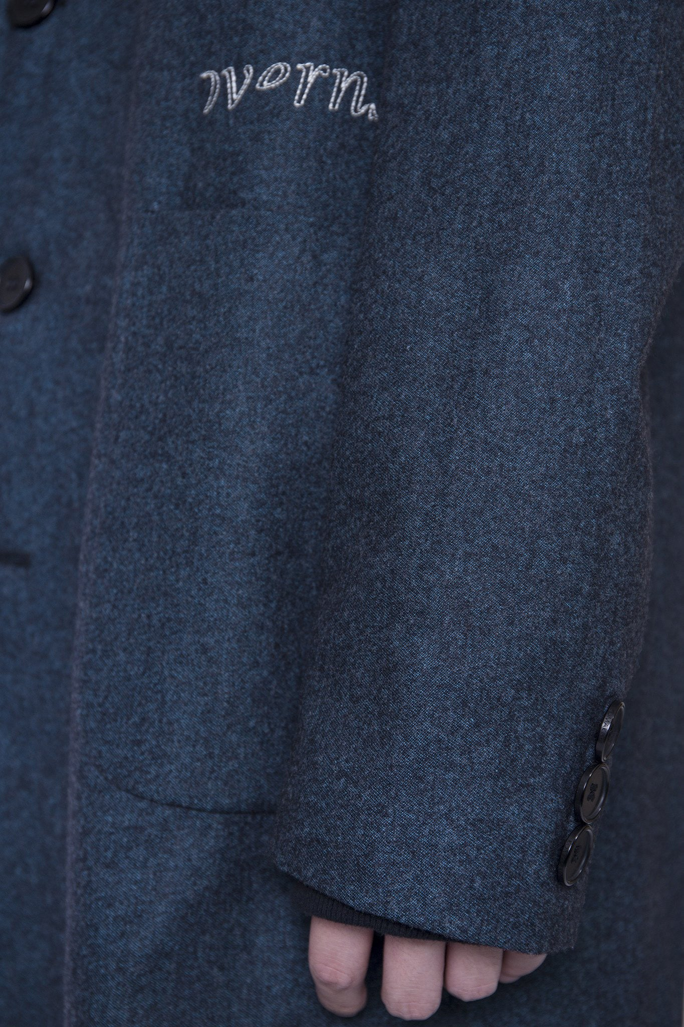 Embroidered Tailored Coat Navy