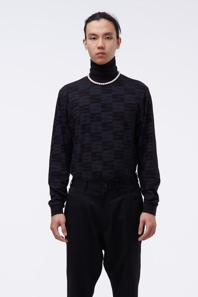 SSS World Corp - Checker All Over Logo L/S Turtleneck Black
