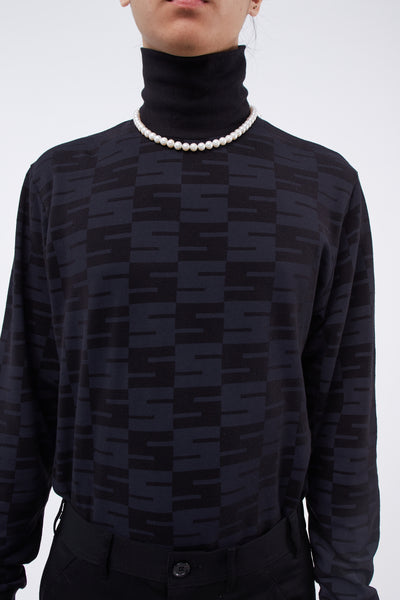 Checker All Over Logo L/S Turtleneck Black