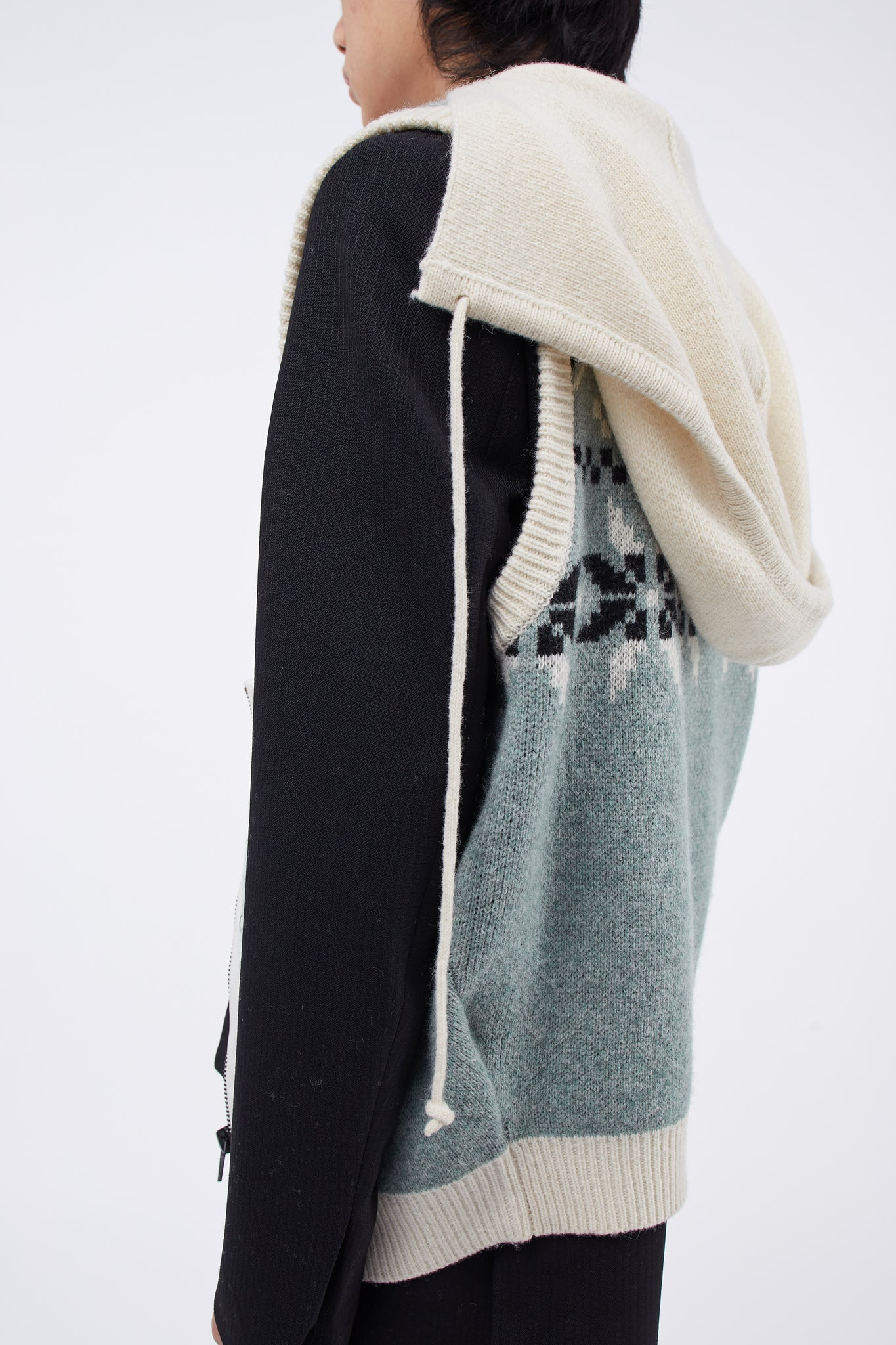 Knit Vest Sage Off-white