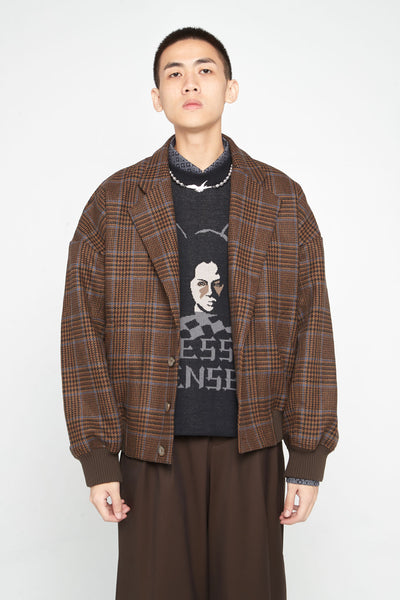Closed Window - Fort Notch Lapel Loose Bomber Desert Sky Houndstooth (Exclusive)