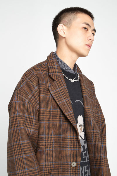 Fort Notch Lapel Loose Bomber Desert Sky Houndstooth (Exclusive)