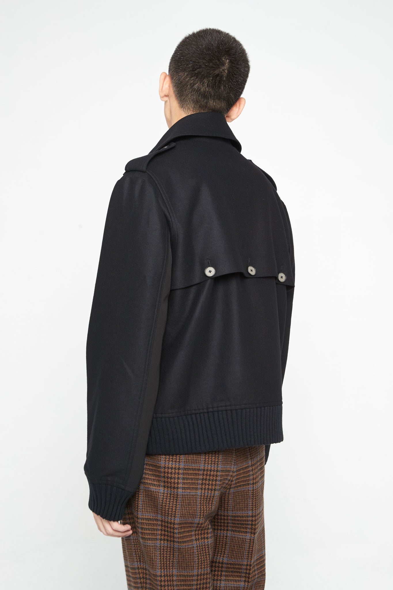 Seth Panelled Flight Jacket Dry Onyx Wool