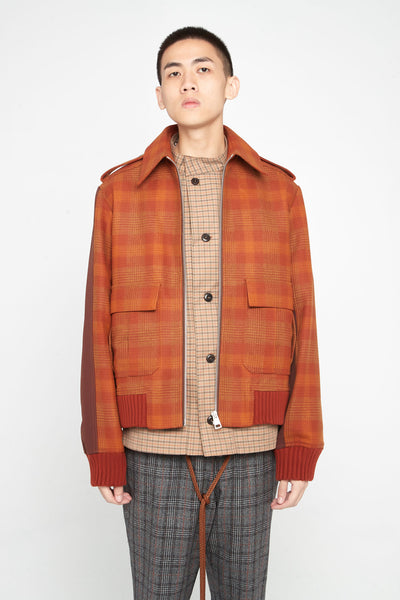 Closed Window - Seth Panelled Flight Jacket Spiced Orange