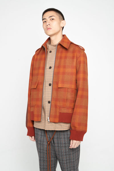 Seth Panelled Flight Jacket Spiced Orange