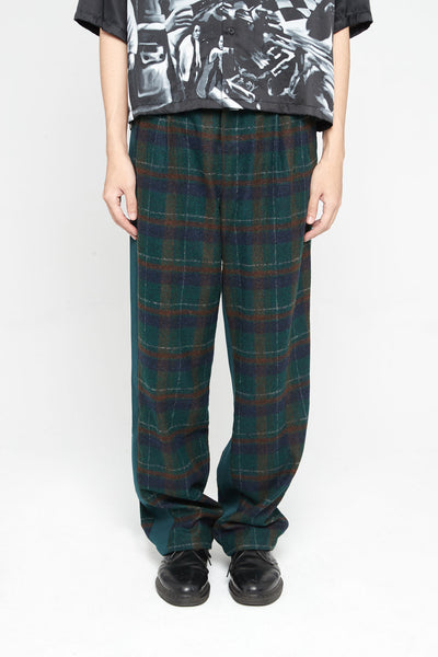 Closed Window - Dobby Panelled Pleats Trouser Eclipse Green Cinnamon Brown Flannel