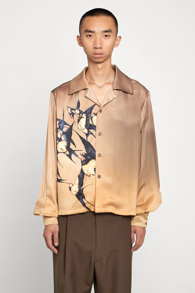 Closed Window - Shin Loose Silk Shirt Sunset