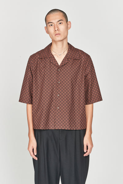 Closed Window - Vacay Cropped Loose Shirt Night Tom Grid