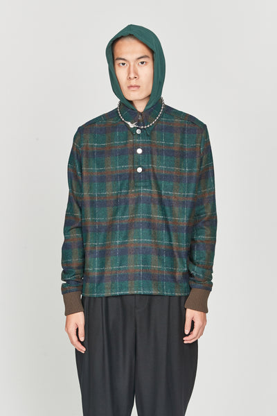 Closed Window - Leon Polo Hooded Shirt Eclipse Green Cinnamon Brown Flannel