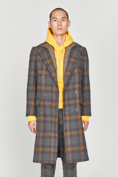 Closed Window - Zen Tailored Double Breast Coat Indigo Mustard Plaids