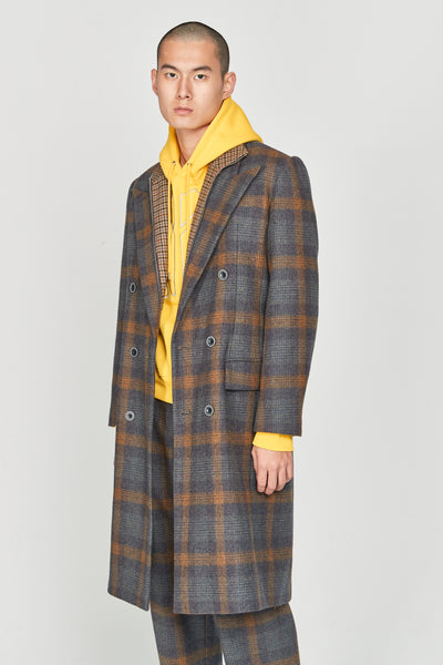Zen Tailored Double Breast Coat Indigo Mustard Plaids