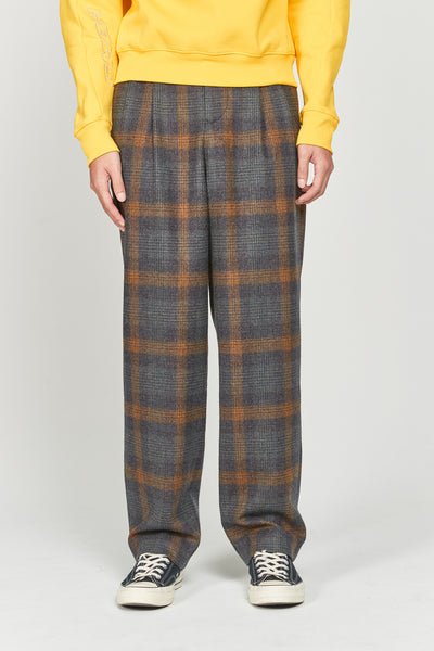 Closed Window - Mich Pleats Straight Trousers Indigo Mustard Plaids