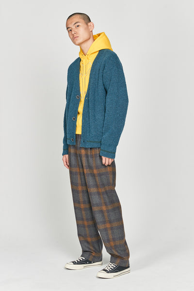 Mich Pleats Straight Trousers Indigo Mustard Plaids