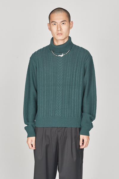 Closed Window - Jackson Textured Boxy Turtleneck Sweater Eclipse Green
