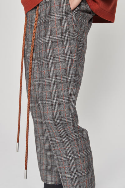 Mich Drawcord Cropped Trouser Mist Sunset Glen Plaid