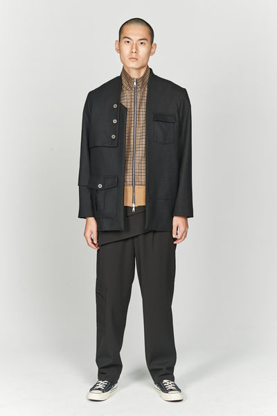Dobby Suit Layered Pleats Trouser Dry Onyx Gabardine