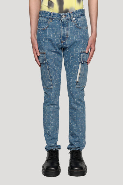 Alyx - Logo Check Cargo Denim Blue Indigo