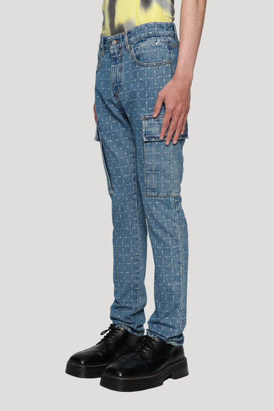 Logo Check Cargo Denim Blue Indigo