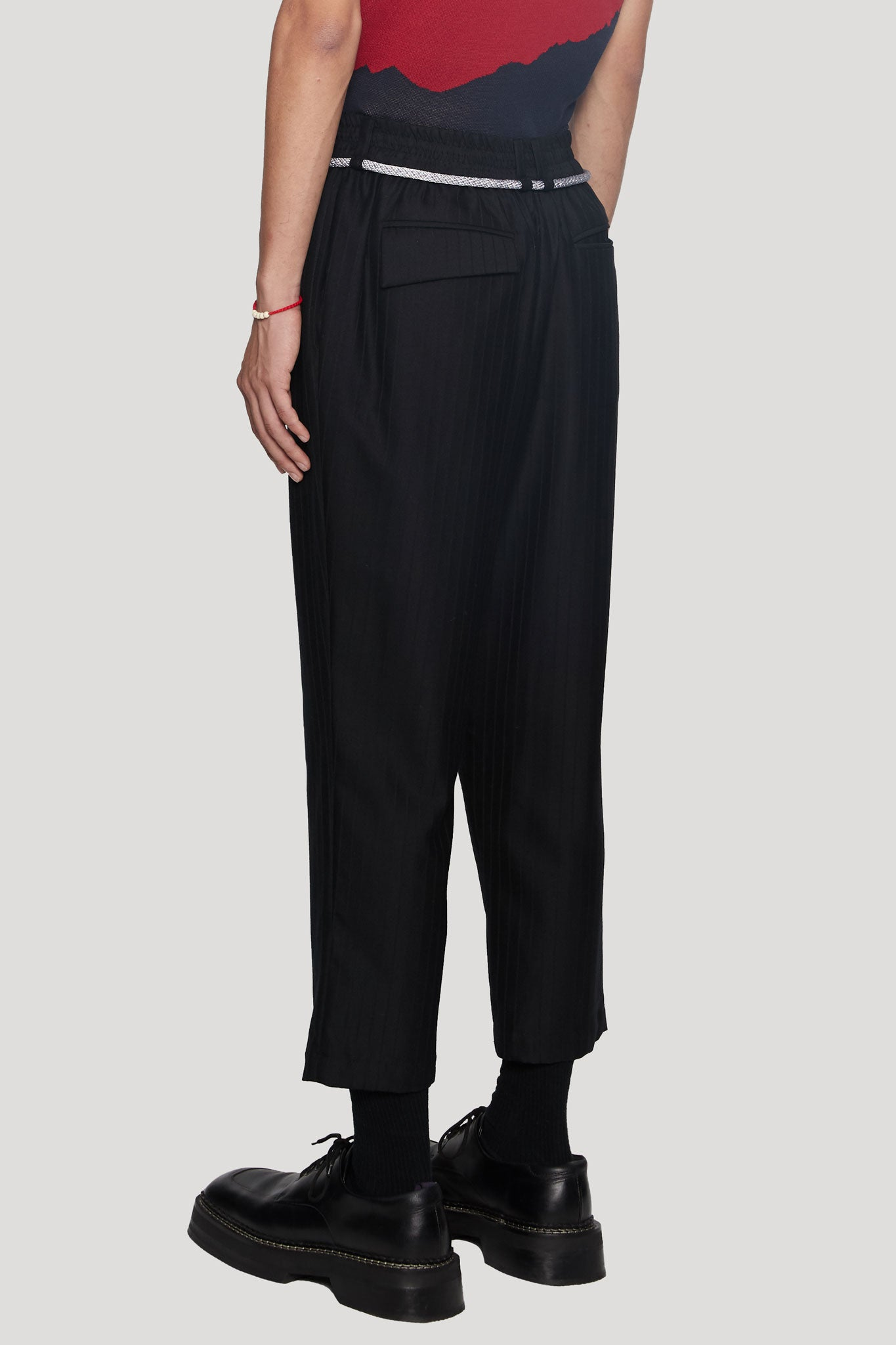 Mich Cropped Dry Onyx Muted Stripe Elastic Trouser
