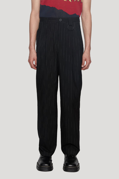 Needle In The Sea - Mich Pleats Straight Trouser Dry Onyx Angel White Teardrop Stripe