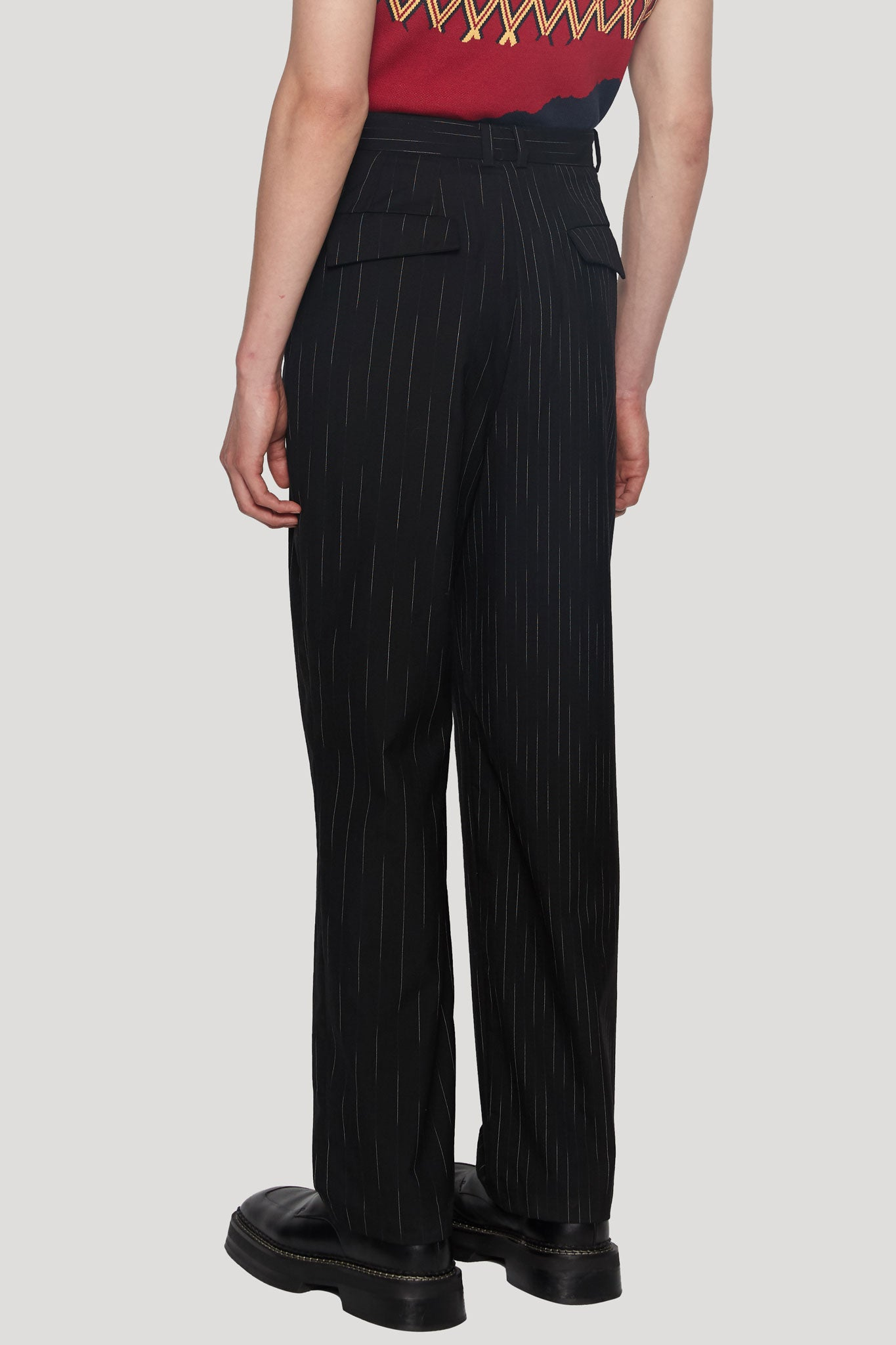 Mich Pleats Straight Trouser Dry Onyx Angel White Teardrop Stripe