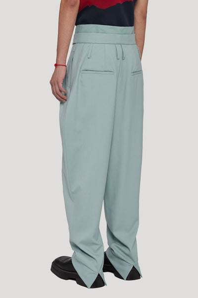 Dan Wide Leg Carrot Double Layer Trouser Gossamer Green