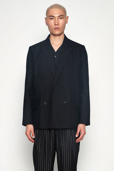 Needle In The Sea - Kin Peak Lapel Relaxed Suit Dry Onyx Muted Stripe