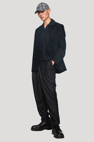 Kin Peak Lapel Relaxed Suit Dry Onyx Muted Stripe