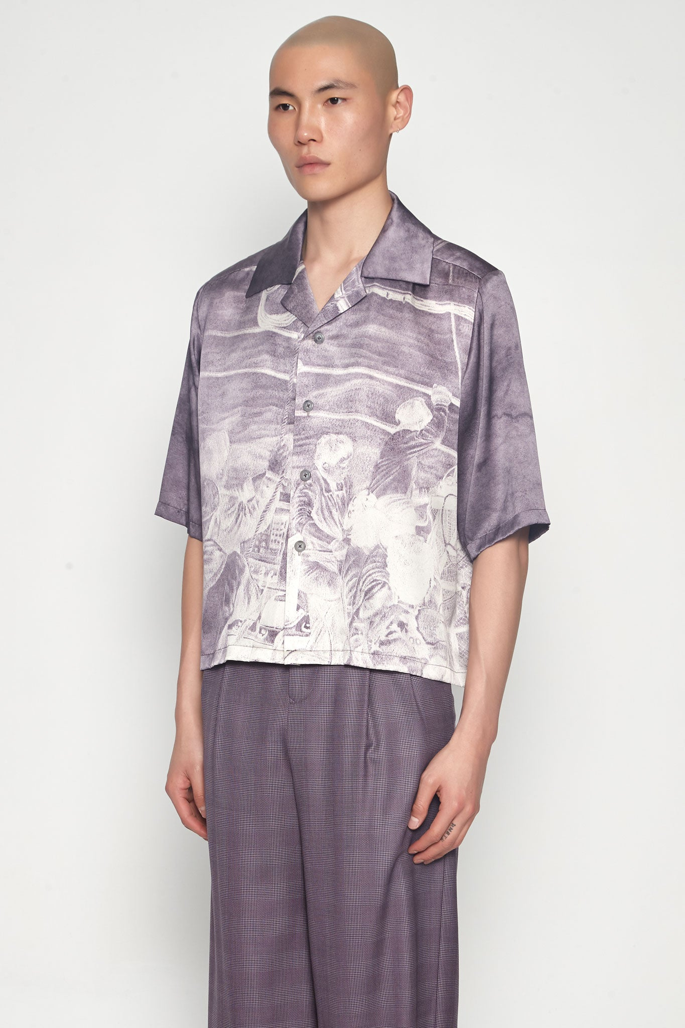 Vacay Cropped Loose Shirt Silk Print Grey Ridge Fisherman