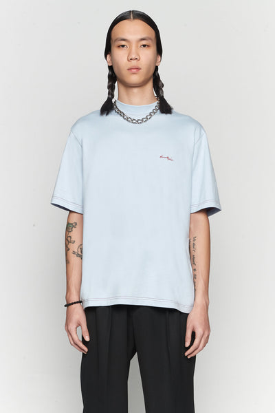 Needle In The Sea - Jess Mock Contrast Stitch Tee Pastel Blue