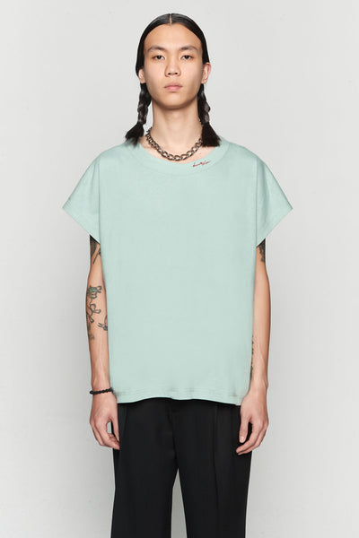 Needle In The Sea - Rik Big Neck Tee Necessity Sense Logo Gossamer Green
