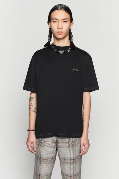 Needle In The Sea - Jess Mock Contrast Stitch Tee Dry Onyx