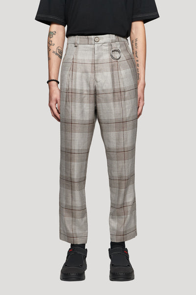 Needle In The Sea - Ritz Formal Slim Trouser Silver Soil Oversized Plaids