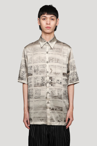 Needle In The Sea - Ruen Contrast Stitch Off-Duty Silk Shirt Silver Lining Passport