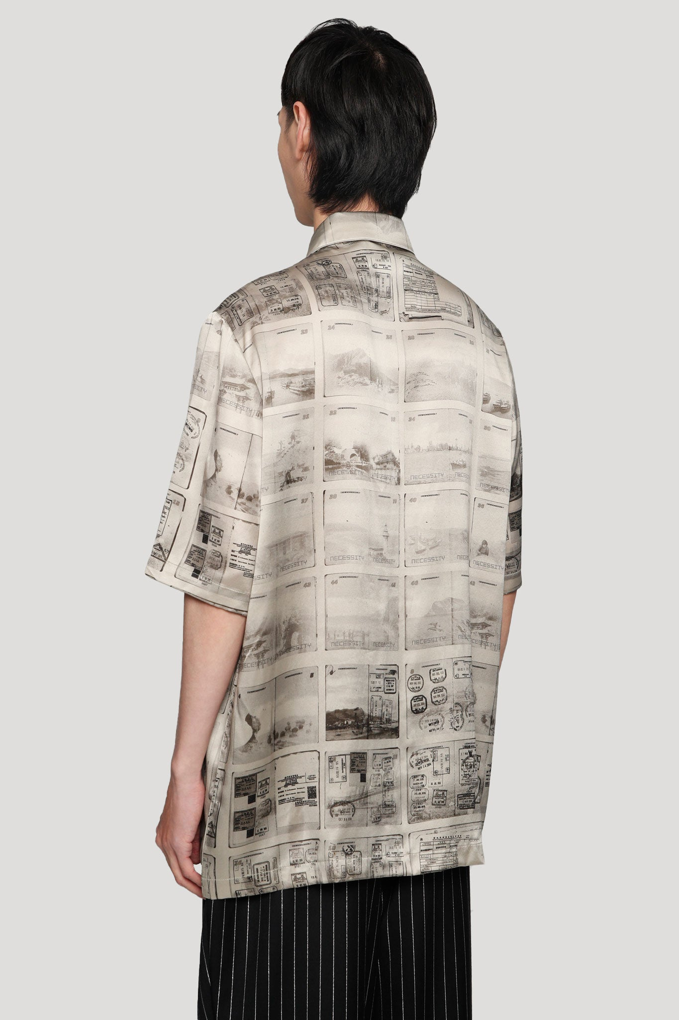 Ruen Contrast Stitch Off-Duty Silk Shirt Silver Lining Passport